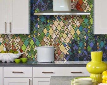 "Abstract ""HARLEQUIN ROMANCE"" Art Tile Backsplash, Ceramic Mosaic Wall Hanging, Diamond Pattern"