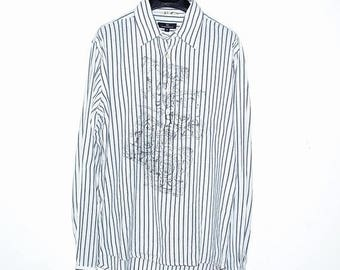 ON SALE Vintage White Gray Cotton Printed Tunic Shirt S Small Birger & Mikkelsen