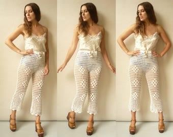 1970's Vintage Hand Made Ivory Crochet Hippie High Waisted Cropped Trousers Flares