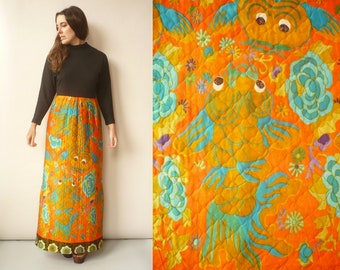 1970's Vintage Novelty Goldfish Print Psychedelic Quilted Maxi Dress Size Small