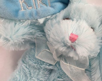 BLUE Embroidered and Personalized Plush Easter Bunny