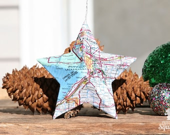 Buffalo, Niagara Falls, New York - Vintage Map Covered Star Ornament - Home Decor, East Coast, NY, Christmas, Map Ornament