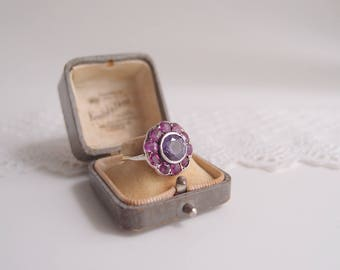 antique Color-Change Sapphire Ruby Cluster Ring 10 karat gold with sterling silver face Georgian Edwardian Alexandrite Mystery Jewel ...sz 9