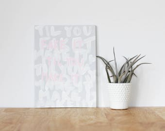 """gray wall art acrylic painting, """"fake it 'til you make it"""" - are you my bestie, flat 6x8 canvas, gift for friend, best friends, portrait"""
