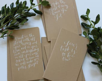 CUSTOM CALLIGRAPHY NOTEBOOK - moleskine, kraft paper, journal, hand lettered, personalized, journal, prayers, adventures, memories, gift