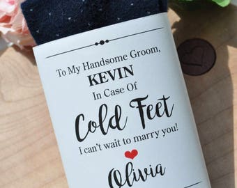 In Case Of Cold Feet Label Wedding Sock Wrap Groom Gift