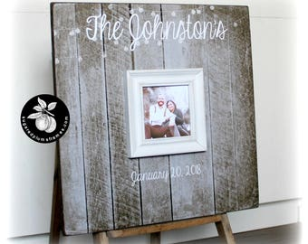 Guest Book with Frame, Guest Book Sign, Rustic Wedding Guest Book, Alternative Guest Book 20x20 The Sugared Plums Frames