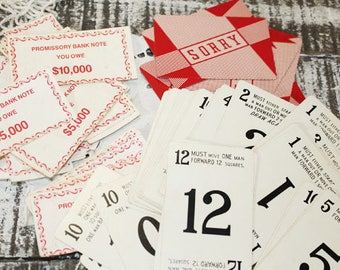 Vintage Playing Cards with Numbers, Sorry board Game Cards, Wedding table number cards