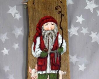 "Tomte, Scandinavian Santa Claus, authentic barnwood, original hand painted art, 5"" x 11 3/8"""