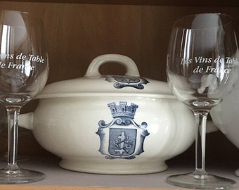 Antique Vintage French Country Casserole or Vegetable Serving Dish w/Lid Blue and White with Crest w/ Crown Design