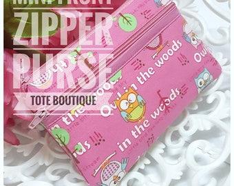 Mini front zipper purse pink owly