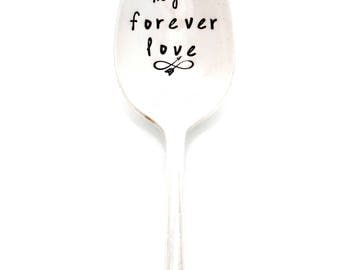my forever love  hand stamped coffee spoon with infinity arrow and date. Personalized love you forever coffee spoon. Custom Tea Teaspoon