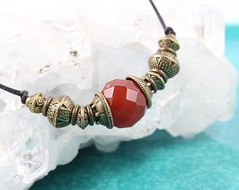 SALE Carnelian Necklace, Gemstone Choker, Yoga Jewelry, Yoga Style, Protection Gemstone, Cord Pendant, Red Necklace, Gemstone Pendant, Yoga