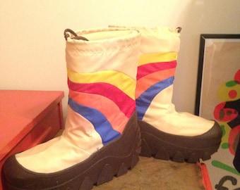 MOON BOOTS rainbow puff mush snow winter Rainbow Brite costume 8 9 10