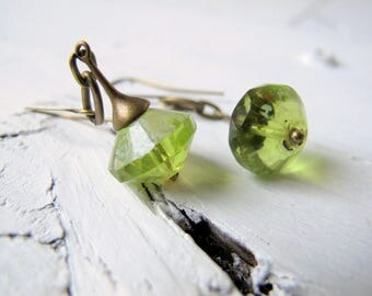 Clear Green Bohemian Earrings, Apple Green Drop, Long Boho Dangle, Czech Glass Jewelry, Bohemian Bijoux, Boho hippie Chic