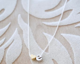 Silver Initial Necklace - Tiny Letter Necklace/ Small Alphabet Charm Necklace/ Dainty Silver Necklace/ Heart Initial/ Lowercase Block Letter