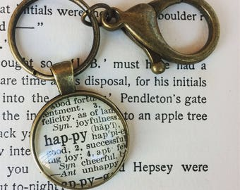 HAPPY Keychain - Happy necklace - happy word necklace - happy word key ring - dictionary jewelry - reminders - keychain reminders