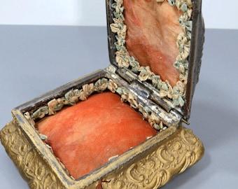 Silver & Gold Metal Jewelry Box Variegated Silk Linin, Vintage Art Nouveau Floral Repousse Design