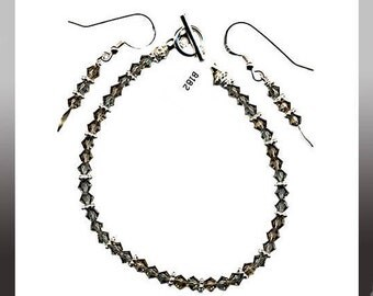 """7"""" Black Diamond 4mm Dainty Swarovski Crystal Bracelet Sterling Silver Daisy Spacers and/or Matched Earrings Sterling Silver Ear Wires Gray"""