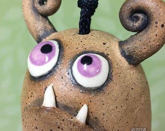 """Monster Bell """"Jan""""- handmade ceramic windchime fun garden art gift"""