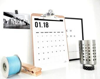 Monthly Calendar Printable 2018, Four Digits and Notes Calendar, 2018 Planner, Wall Calendar, Notepad, Gift for Student, Desk Calendar, PDF