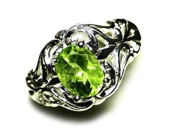 Peridot Ring Size 7 (2.08 ct) Sterling Silver Peridot Ring, Oval Peridot Jewelry, Green Peridot Ring For Women, August Birthstone Ring Mens