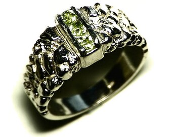 Mens Peridot Ring Size 10 (0.43 tcw) Triple Peridot Ring, Green Peridot Jewelry, August Birthstone Ring Men, Sterling Silver Peridot Ring