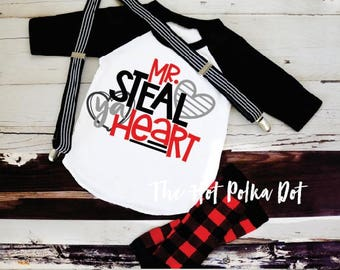 Boys Valentine's Day Shirt Mr. STEAL YA Heart Valentine Shirt Baseball Raglan Black Sleeves Infant Toddler Youth Boy Valentine