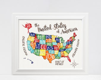 Fun Map Etsy - Us map of states with names