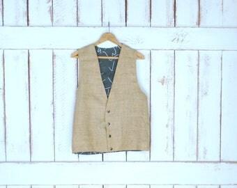 Vintage light tan brown burlap snap button vest/country western rustic burlap vest