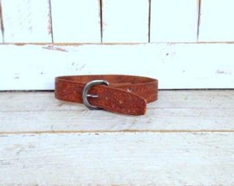 Vintage wide brown tooled  leather western belt/embossed leather boho/hippie belt/30