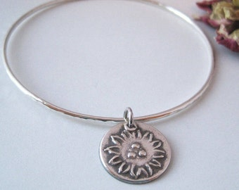 Silver Flower Bangle Bracelet