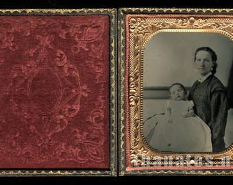 1/6 Post Mortem Tintype - Woman with Infant - 1860s