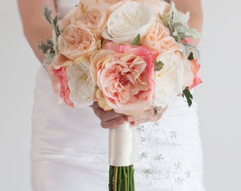 Blush Pink Bouquet, Garden Rose Bouquet, Wedding Bouquet, Silk Bouquet, Garden Rose Wedding Bouquet with Dusty Miller