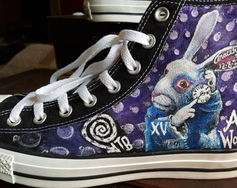 Alice in Wonderland Handpainted Shoes Tim Burton Queen of Hearts Cheshire Cat Mad Hatter and White Rabbit Converse
