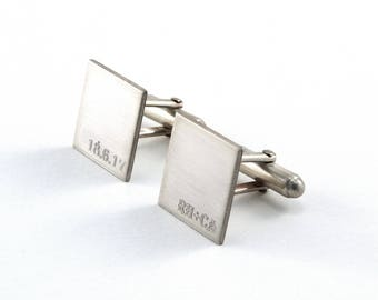 Engraved Cuff Links, Personalised Cufflinks, Sterling Silver, Monogrammed Wedding Cuff Links, Groomsmen Gift, Gift for Him, Square Cufflinks