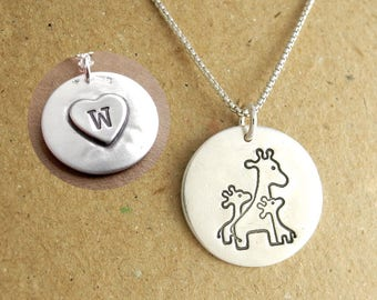 Personalized Mother and Twin Giraffe Necklace, Heart Monogram, Fine Silver, Sterling Silver Chain, Made To Order