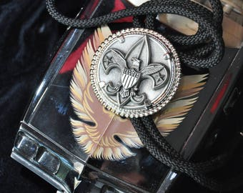 Vintage Bolero Lariat Tie Boy Scouts America  Necklace black cord 80s-90s Adjustable pewter Circular Bolo Tie BSA Collectible