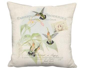 Pillow Cover - Pillow - Apricot and Green Hummingbird Shabby Chic Bird Decor -  16x 18x 20x 22x 24x 26x Inch Linen Cotton Cushion Cover