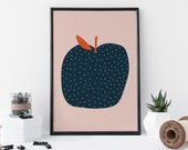 Apple Print - Kitchen Art - Fruit Print - Food Art - Foodie Gift- Gift For Mom - Wall Art - Home Decor – 8 X 11 Print