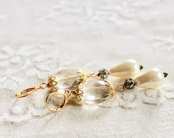Large oval champagne glass bead, rhinestone, and pearl drop earrings, golden accents, Your Majesty
