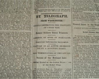 Federal Soldiers Taken Prisoner - Boston Daily Journal September 16, 1861. Original and Complete