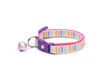 Chevron Cat Collar -Pastel Rainbow Chevrons - Breakaway Cat Collar - Kitten or Large size