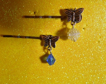 Two (2)  flat back small butterfly barrettes with bead dangle #1075
