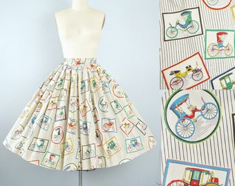 "Vintage 50s Novelty Print Skirt / 1950s Framed ANTIQUE CARS Buggy Carshow Cotton Full Circle 25"" 26"" High Waist Rockabilly Pinup XS Small"