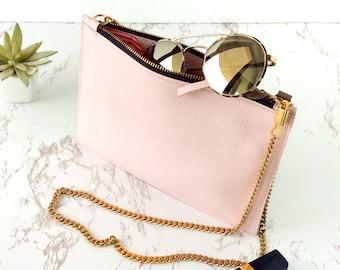 Small cross body bag leather vegan crossbody handbag, pink crossbody purse, cross body cell phone bag, blush pink clutch bridesmaid gift