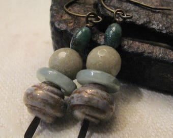 grey, beige, and green stacked dangle earrings