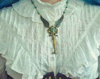 Steampunk skull goth victorian Winged Key brass necklace, verdigris patina turquoise beads wire wrapping