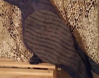 chenille  pillow black bird