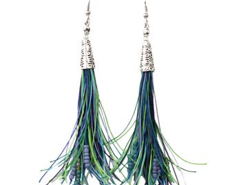 Beaded Tassel Earrings Long Bohemian Style in Blue, Greens and Purple Tones with Hypoallergenic Ear Wires